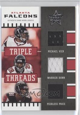 2004 Leaf Rookies & Stars - Triple Threads #TT-2 - Michael Vick, Warrick Dunn, Peerless Price /100