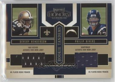 2004 Playoff Honors - Rookie Tandems - Jerseys [Memorabilia] #RT-5 - Devery Henderson, Philip Rivers