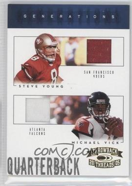 2005 Donruss Throwback Threads - Generations - Material #G-18 - Steve Young, Michael Vick /50