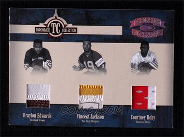 2005 Donruss Throwback Threads - Throwback Collection - Material Prime #TC-24 - Braylon Edwards, Vincent Jackson, Courtney Roby /25 [Noted]