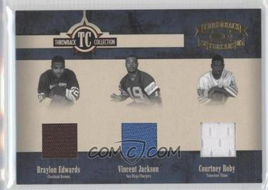 2005 Donruss Throwback Threads - Throwback Collection - Material #TC-24 - Braylon Edwards, Vincent Jackson, Courtney Roby
