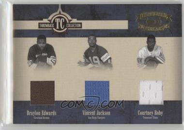 2005 Donruss Throwback Threads - Throwback Collection - Material #TC-24 - Braylon Edwards, Vincent Jackson, Courtney Roby /100