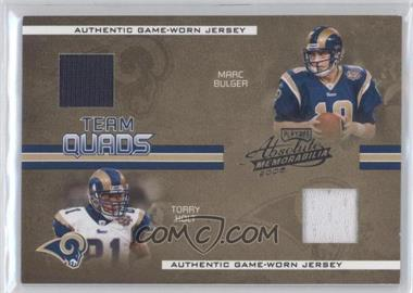 2005 Playoff Absolute Memorabilia - Team Quads - Materials [Memorabilia] #TQ-10 - Marc Bulger, Torry Holt, Steven Jackson, Marshall Faulk /50