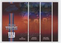 Eli Manning, Jeremy Shockey, Michael Strahan #/100