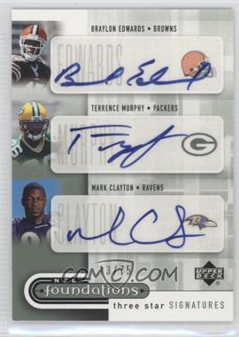 2005 Upper Deck NFL Foundations - Three Star Signatures #3S-EMC - Terrence Murphy, Braylon Edwards, Mark Clayton /75