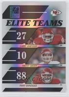 Larry Johnson, Trent Green, Tony Gonzalez #/1,000