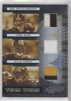 Ben Roethlisberger, Hines Ward, Willie Parker [EX to NM] #/15