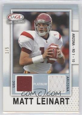 2006 SAGE Game Exclusives - Matt Leinart Jerseys - Platinum #MLJ - Matt Leinart /5