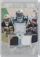 Reggie Bush, Laurence Maroney, DeAngelo Williams #/25