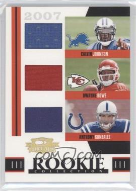 2007 Donruss Threads - Rookie Collection Triples Materials #RTM-3 - Anthony Gonzalez, Dwayne Bowe, Calvin Johnson /500