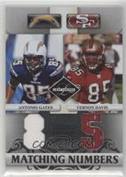 Antonio Gates, Vernon Davis [EX to NM] #/100