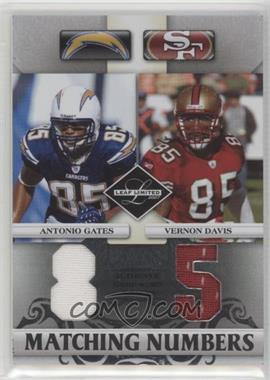 2007 Leaf Limited - Matching Numbers #MN-19 - Antonio Gates, Vernon Davis /100 [EX to NM]
