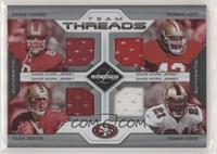Steve Young, Ronnie Lott, Alex Smith, Frank Gore #/100