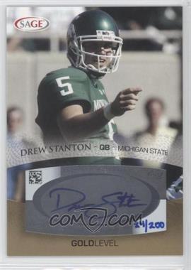 2007 SAGE Autographed Football - Autographs - Gold #A53 - Drew Stanton /200