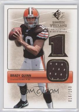 2007 SP Rookie Threads - Rookie Threads - Gold #RT-BQ2 - Brady Quinn /150
