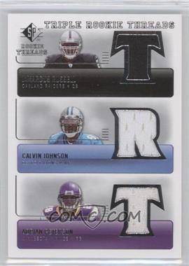 2007 SP Rookie Threads - Triple Rookie Threads #TRT-JRP - JaMarcus Russell, Calvin Johnson, Adrian Peterson