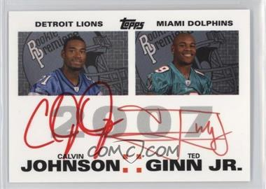 2007 Topps - Rookie Premiere Quad Autographs - Red Ink #N/A - Calvin Johnson, Ted Ginn, Dwayne Bowe, Rob Meier