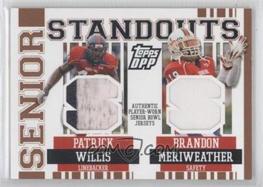 2007 Topps Draft Picks and Prospects (DPP) - Senior Standouts Senior Bowl Combo Relics - Prime #SSCR-WME - Patrick Willis, Brandon Meriweather /49
