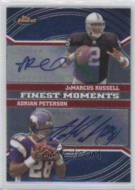 2007 Topps Finest - Finest Moments Dual Autographs #FMDA-RP - JaMarcus Russell, Adrian Peterson /20