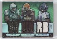 Thomas Jones, Jamal Lewis, Willis McGahee #/18