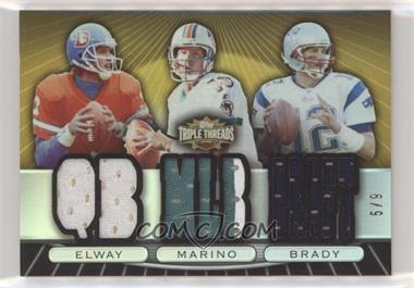 2007 Topps Triple Threads - Relic Combos - Gold #TTRC22 - John Elway, Dan Marino, Tom Brady /9 [Noted]
