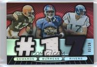 Braylon Edwards, Plaxico Burress, Philip Rivers #/36