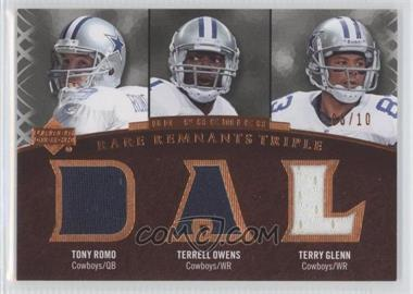 2007 UD Premier - Rare Remnants Triple - Bronze #RR3-ROG - Tony Romo, Terrell Owens, Terry Glenn /10