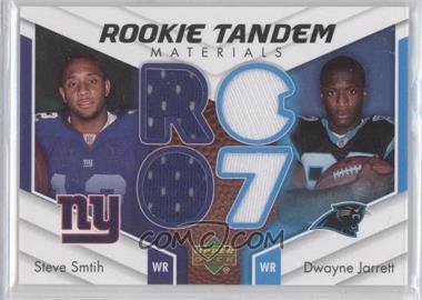 2007 Upper Deck - Rookie Tandem Materials #RTM-JS - Steve Smith, Dwayne Jarrett, Steve Smith