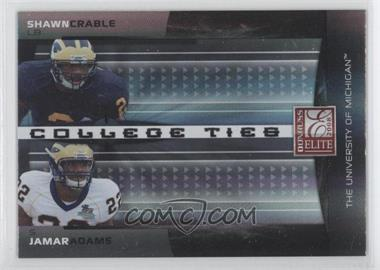 2008 Donruss Elite - College Ties Combos - Black #CTC-11 - Jamar Adams, Shawn Crable /200