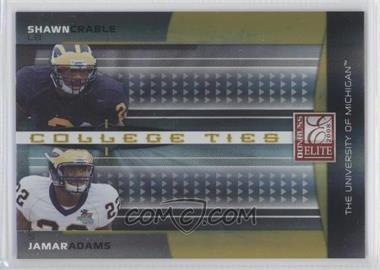 2008 Donruss Elite - College Ties Combos - Gold #CTC-11 - Jamar Adams, Shawn Crable /400