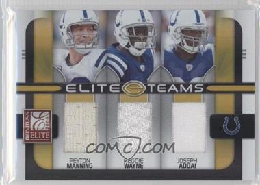 2008 Donruss Elite - Elite Teams - Jerseys [Memorabilia] #ET-8 - Joseph Addai, Reggie Wayne, Peyton Manning /199