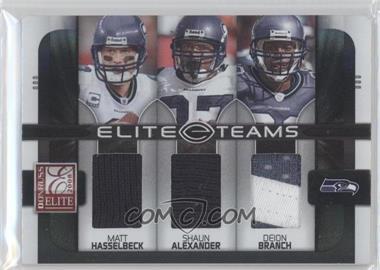 2008 Donruss Elite - Elite Teams - Jerseys Prime [Memorabilia] #ET-19 - Shaun Alexander, Deion Branch, Matt Hasselbeck /50
