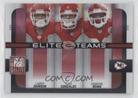 Larry Johnson, Tony Gonzalez, Dwayne Bowe #/400