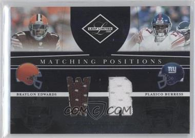 2008 Leaf Limited - Matching Positions #MP-8 - Plaxico Burress, Braylon Edwards /100