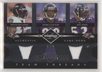 Mark Clayton, Ray Lewis, Willis McGahee #/100