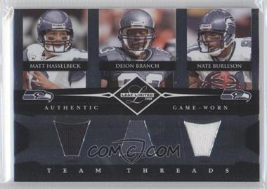 2008 Leaf Limited - Team Threads Triples #TTT-7 - Deion Branch, Matt Hasselbeck, Nate Burleson /100
