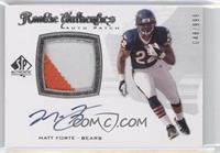 Rookie Authentics Auto Patch - Matt Forte /999