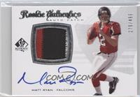 Rookie Authentics Auto Patch - Matt Ryan /499