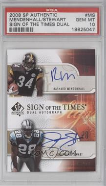 2008 SP Authentic - Sign of the Times Dual #SOTT2-MS - Rashard Mendenhall, Jonathan Stewart /50 [PSA 10]