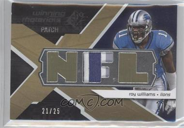 2008 SPx - Winning Materials - Single Patch NFL Letters #WM-RW - Roy Williams /25