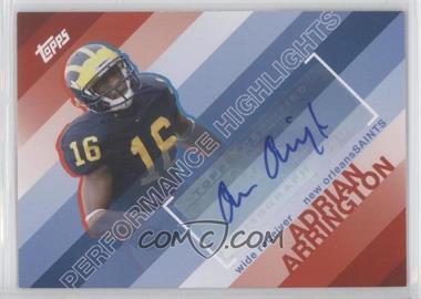 2008 Topps - Performance Highlights - Autographs [Autographed] #THA-AA - Adrian Arrington