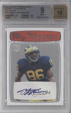 2008 Topps Rookie Progression - [Base] - Rookie Autographs Red Silver [Autographed] #197 - Mario Manningham /20 [BGS 9]