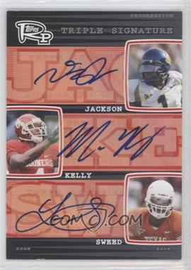 2008 Topps Rookie Progression - Triple Signatures #PTS-JKS - Limas Sweed, DeSean Jackson, Malcolm Kelly /10