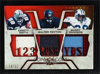 Barry Sanders, Walter Payton, Emmitt Smith [Noted] #/22