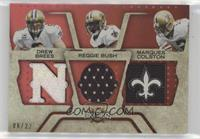 Marques Colston, Reggie Bush, Drew Brees #/22