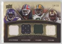 Adrian Peterson, Frank Gore, Ryan Grant, Marshawn Lynch #/15