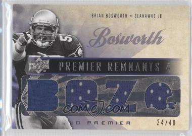 2008 UD Premier - Premier Remnants 4 #PR4-BB - Brian Bosworth /40