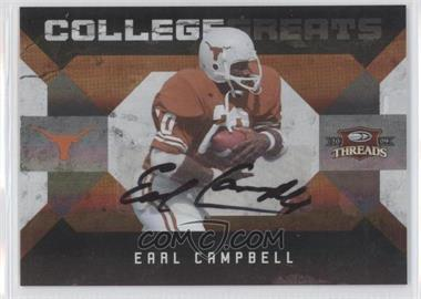 2009 Donruss Threads - College Greats - Signatures [Autographed] #7 - Earl Campbell /25