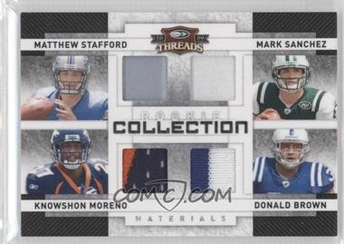2009 Donruss Threads - Rookie Collection Quad Materials - Prime #3 - Knowshon Moreno, Matthew Stafford, Donald Brown, Mark Sanchez /25