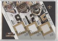 Reggie Bush, Drew Brees, Marques Colston #/250